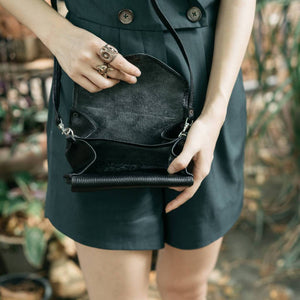 Black Leather Wristlet & Leather Crossbody Purse - Atitlan Leather