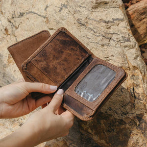 Mens Leather Wallet with Coin Pocket and ID Window - Atitlan Leather