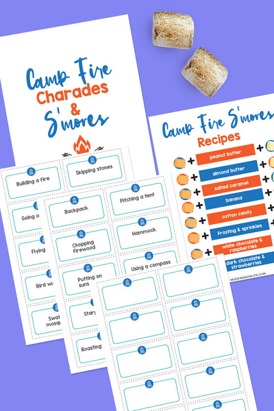 Camping Charades Game and S'mores Recipes