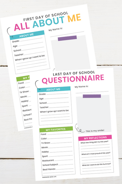 First and Last Day of School Questionnaire Printable Bundle