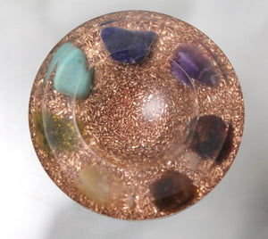 "Reiki Chakra Sphere Stand Copper Base for Orgone Collecting - Real Gems - Garnet - Peridot - Turquoise - Amethyst Custom Made for 1-5"" Ball"