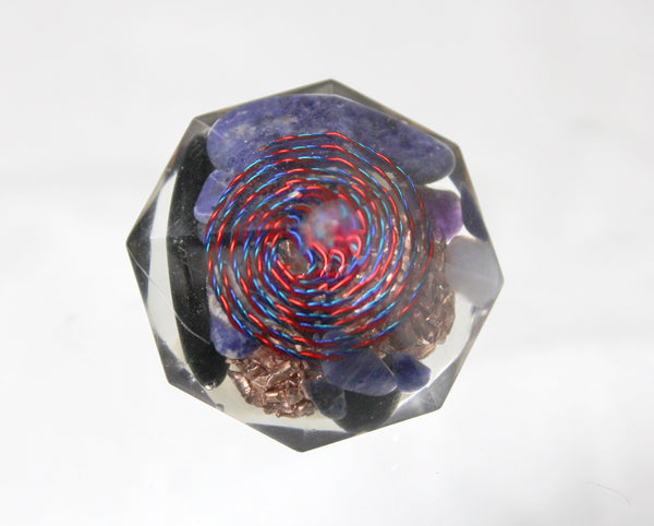 Two Unique Handmade Orgone Gems Copper, Quartz, Amethyst, Sodalite - 1.5 inch bubble free HandSpun Spiral Crystal Charging Orgone Energy