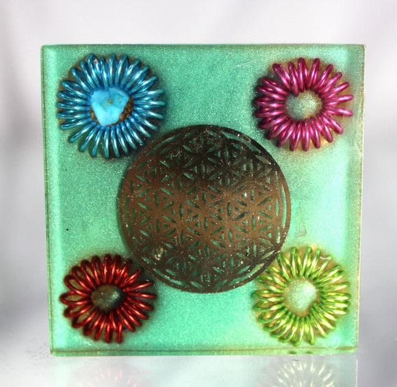 Flower of Life Four Colored Coil Square Orgone Energy Filter - Bring in the Good, Kick out the Jazz - Thick Copper, Minerals, Foil Sacred