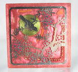 Spectrum Harmonizer Bird in Cherry Tree - Red Coral, Spiral, Coil, Colorful Plate to Retune Your Environment