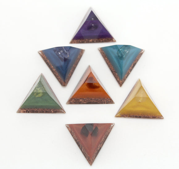 Chakra Set Pyramid Orgone Minis - 7 single Mineral Bead on Colored Mica with Copper Base - Energy Charging Reiki Stones - 1 inch set of 7