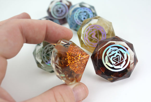 Foil Bottomed Reiki Tool Body Working Chakra Orgone Energy Gemstones - 100% REAL Minerals - High Quality - 40mm perfect for Chakra Tools