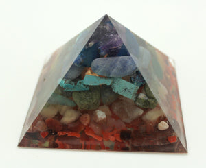 "3.75"" 7 Layer Chakra Pyramid Mineral and Gem Filled NO Metal - All Stone Made in America Turquoise, Coral, Amethyst, Peridot"