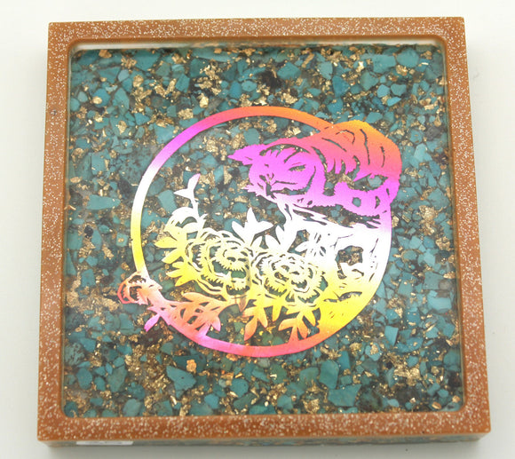 Japanese Cat Papercut Style Rainbow Flowers Foil on Thick Natural Turquoise and Gold - Square Tray Perfect for Jewelry Tray, Trinkets, Home