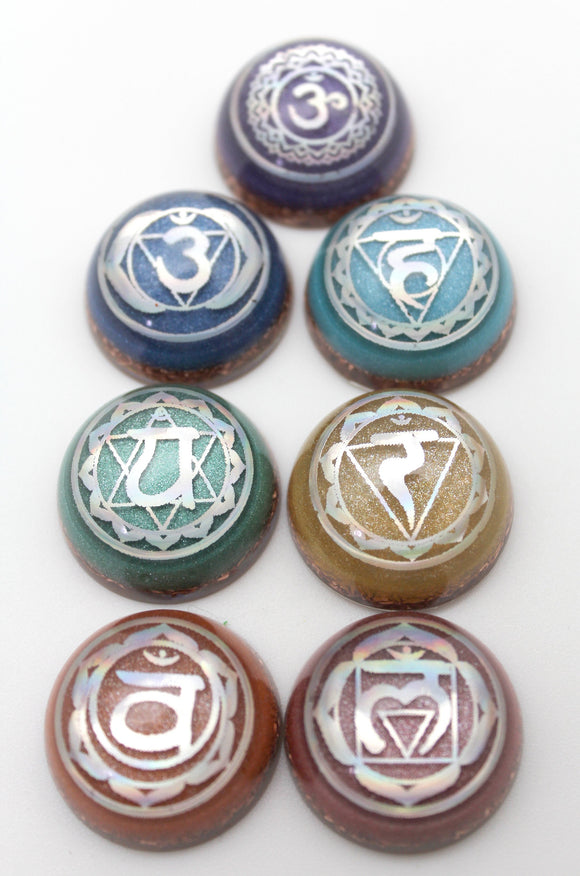 Chakra Set Round Orgone Domes - Foil 7 Symbols on Colored Mica with Quartz and Copper - Energy Charging Reiki Stones - 1 inch set of 7