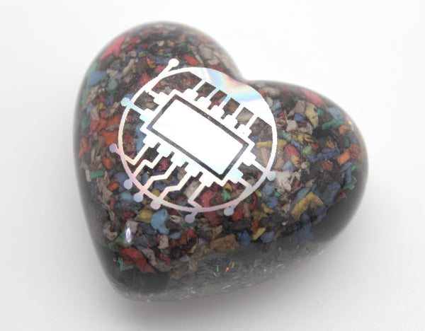 Big Puffy Heart EMF Blocker - Colorful Electrical Grid Protector Full of Insulation - Obsidian, Selenite, Fun Glitter Tool for Desktop Use!