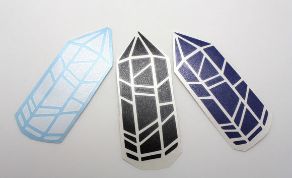 Long Quartz Crystal Sticker Vinyl - 4 Inches!  Perfect for the Rockhound and Mineral Collector in your life! Four Colors to Choose From
