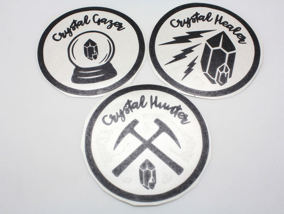 Three Pack of Crystal Hunter Crystal Healer and Crystal Gazer Vinyl Stickers Black All 3 for ONE price - 3.75 inch Circle For Car or Laptop