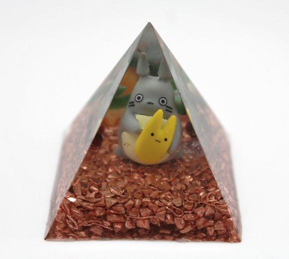 My Neighbor Totoro Studio Ghibli with Super Fun Minerals in an Orgone Pyramid - Colorful Desktop Power Accumulator Garnet and Serpentine