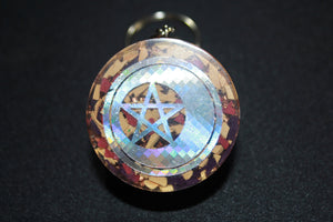 Orgone Keychain - Recycled Copper - Tumbled Quartz with Colorful Acrylic - Foil Moon Pentacle 1.5 inch Handmade Charm