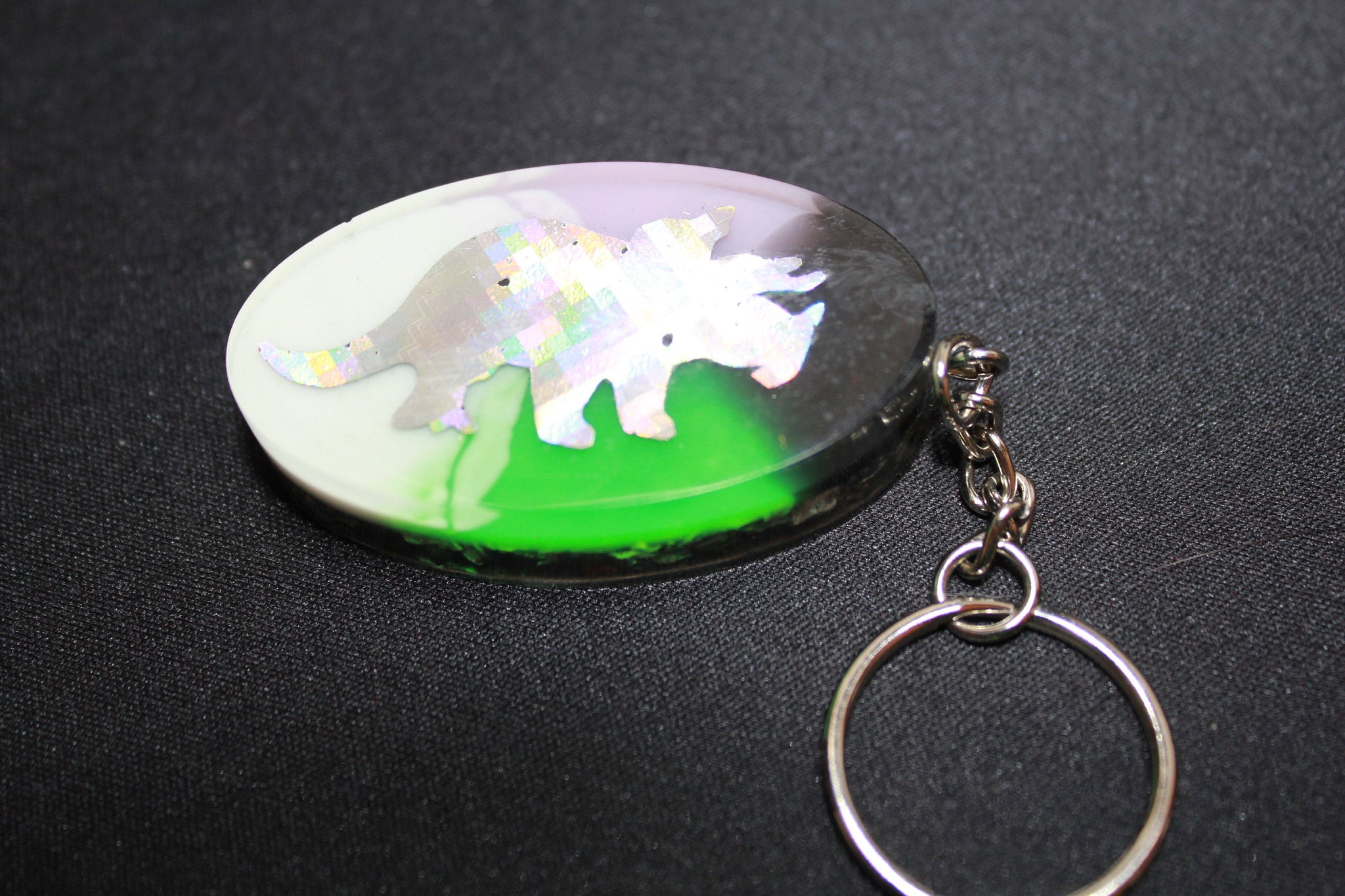 EMF Blocker Keychain Pocket Electrical Blocker 2 inch Triceratops on pink yellow and green with shredded steel - Funky Dinosaur