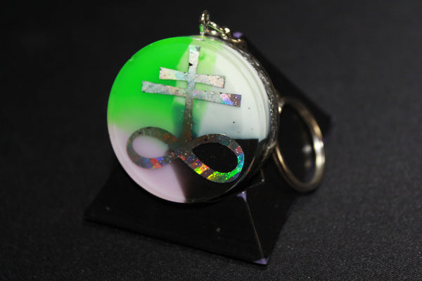 Leviathan Cross Pink/White/Black/Green EMF Blocker 1.5 inch round Pastel Goth and Shredded Recycled Aluminium Hail Satan!