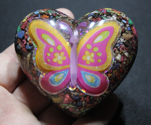 Big Butterfly Puffy Heart EMF Blocker - Colorful Electrical Grid Protector Full of Insulation - Obsidian, Selenite, Glass, Glittery 3 inch
