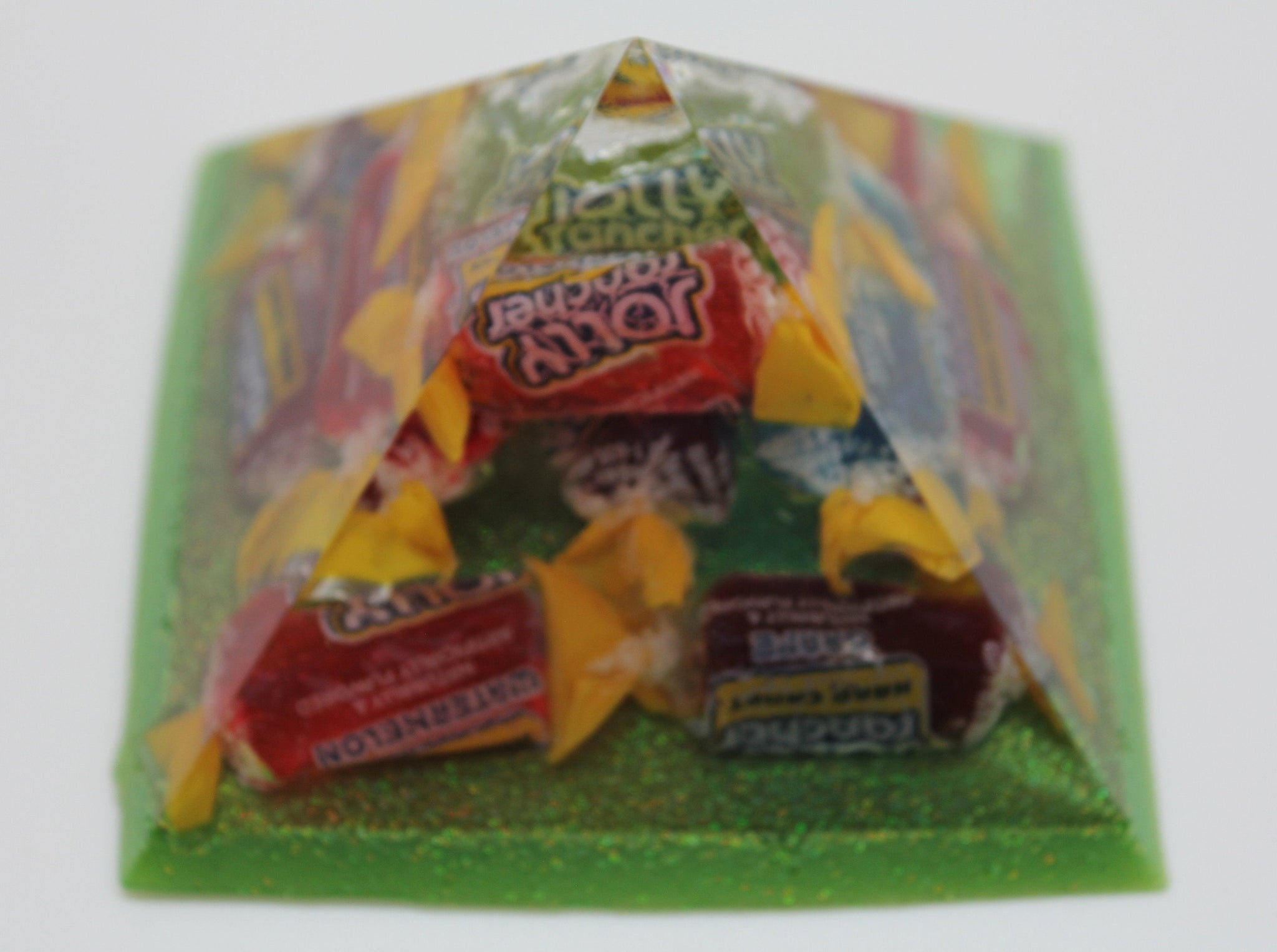 "3.5"" Pyramid of Jolly Rancher Candy - 14 Wrapped Candies with Green Diamond glitter base - Funky OoaK for the person who has EVERYTHING"