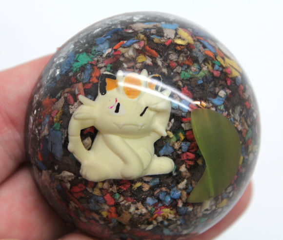 Meowth, Team Rocket Member Pokemon Living Display EMF Blocker, Rainbow Recycled Plastic,Fiber Optic Bead 2.25 Inch Pogo!