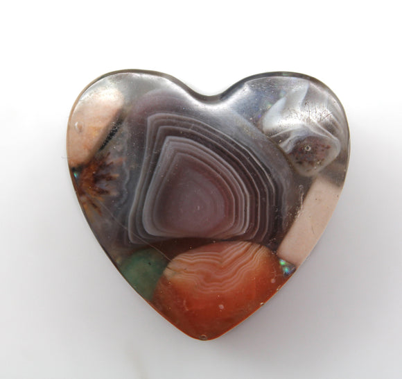 1.25 Orgone Accumulator Heart - Banded Agate with Fortification Lines, Diamond Glitter and Copper - Perfect Pocket Collector