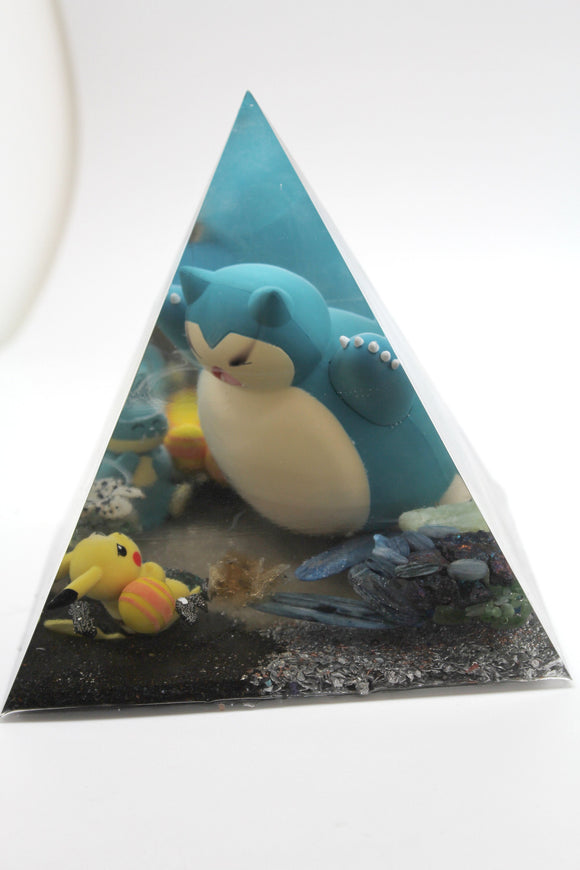 Munchlax Stole Pikachu's Candy - Pika Challenges Munch, He goes and gets his Momma Snorlax - 6.5 Inch Pyramid Pokemon Pogo  OOAK Gift Decor