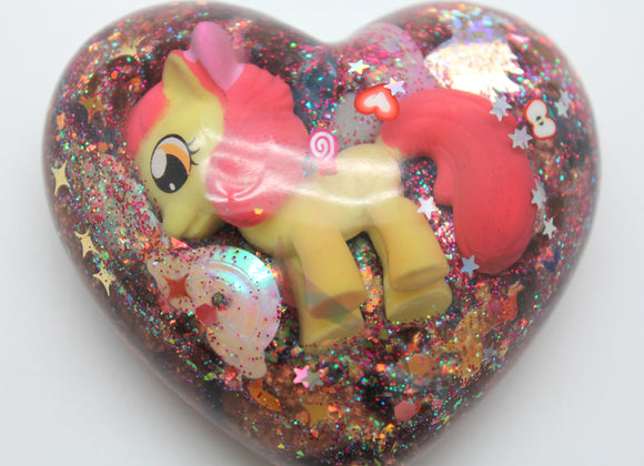 My Little Pony Applebloom Yellow and Pink Rainbows and Hearts, Sparkles and Orgone Power with Copper and Quartz!  3 Inch