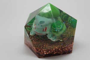 Bulbasaur Gen 1 Grass Starter - Orgone Gem Landscape - Handpainted Candy, Moss and Epidote with Quartz 2.5x2.25 inch