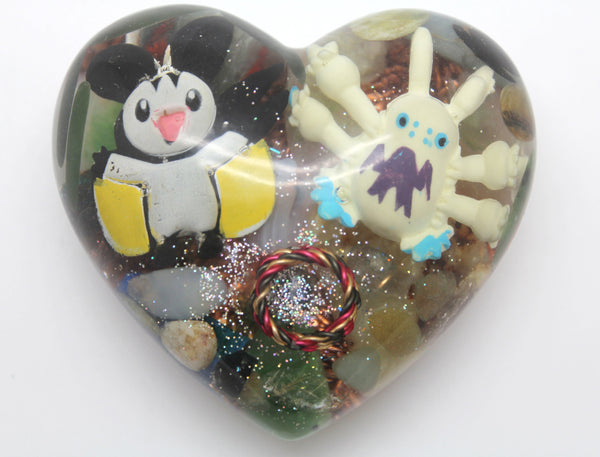 Electric Bug and Flying Squirrel - Emolga and Galvantula From Gen 5  - Copper/Quartz, Kyanite Pokemon Display Piece PoGo - Orgone Generator