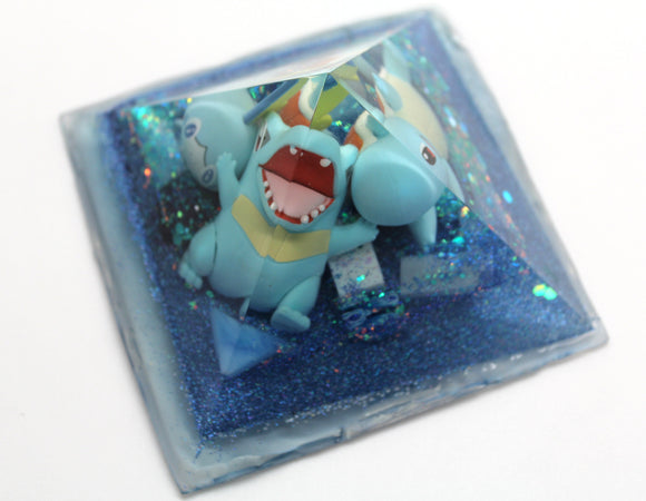Big Funky Water Pokemon Pyramid - Water Starters - Squirtle! Totodile! Sooble! Gen 1, 2 and 8! 3.75 inch gel like base sparkles and gems