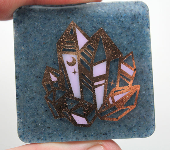 Fun Color Therapy Plate - Blue Crushed Kyanite with a fun golden foil Quartz Cluster - Hand Painted Highlights - 2 inch Square