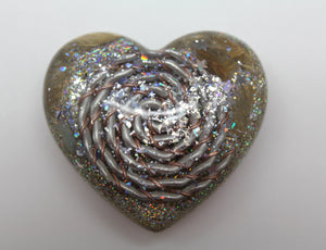 Bi Color Spiral Heart of Orgone Power - Minerals Inside! - Cute 2 inch - Silver and Gold - Quartz and Copper with Rutilated Quartz and Opal