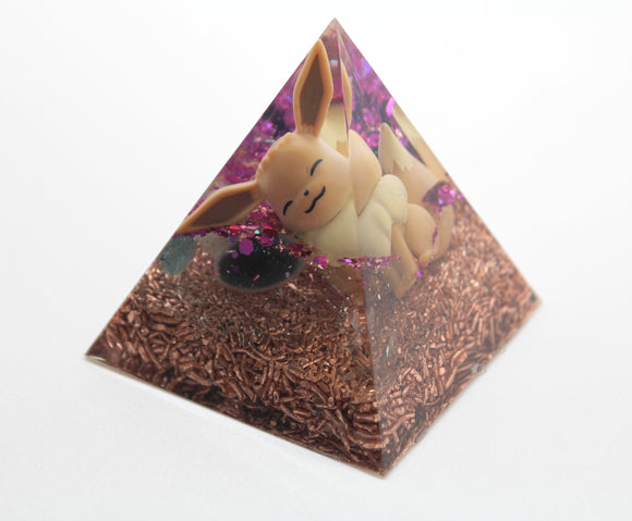 Eevee Gen 1 Pokemon in an Orgone Energy Pyramid - Super Cute Pogo with Glitter and Quartz and Apatite and Minerals and Fun! 2.5 inches tall