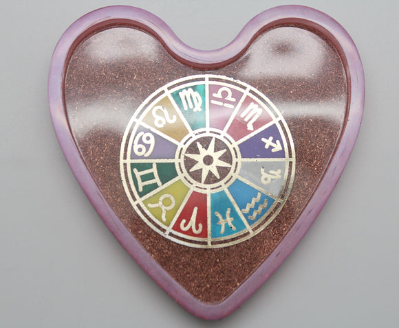 Astrological Zodiac Wheel Heart Shaped Dish Shredded Copper Wire Background, Golden Foil with Pink Glitter Rim 4.25 Inch Tray for LIFE!