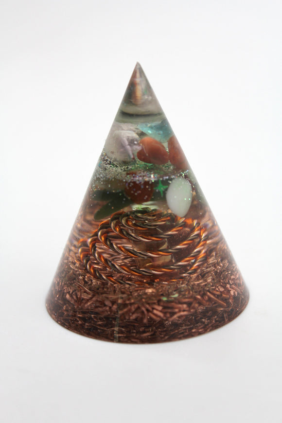 Teal Cone of Orgone Power - Cloud Burster with Quartz and Copper - Twisted Wire Spiral with apatite, garnet, and serpentine 2.35 inch tall