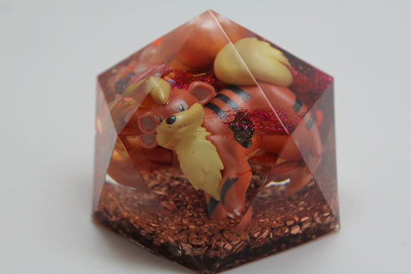 Fire Pokemon Charmander and Growlith - Orgone Gem Landscape - Handpainted Candy, Pyrite, Millefiori Glass, Goldstone 2.5x2.25 inch