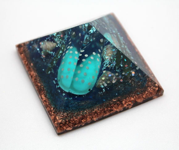 Under the Sea Orgone Power Pyramid - Seashells, Azurite, Quartz and Serpentine with a Cutie Fishy on a bed of Thick Copper - Desktop Decor