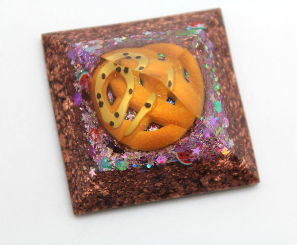 Nacho Cheese Pretzel Orgone Power Pyramid - Quartz and Copper coming together for FUN! - Desktop Decor - 2 Inch wide 1.25 tall low profile