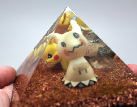 Mimikyu and one very irritated Pikachu!  Imitation is the most sincere form of Flattery, Pika! Pokemon Power Pyramid Quartz, Copper, Pyrite