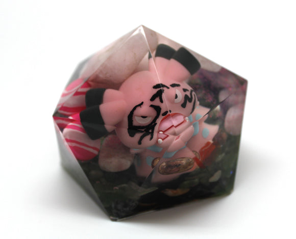Jigglypuff And Snubbull - OOAK - Pokemon Scene - Waking up after Jigglypuff's Sleepy Song and Marker Face! Rose Quartz Amethyst 2.75x2.25