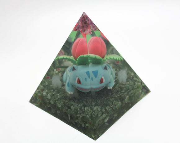 Ivysaur Gen 1 Grass Starter evolution - Colorful Pokemon Biome Landscape - Jadeite, Serpentine, Antigorite Green Minerals 4.8x4.2 inch