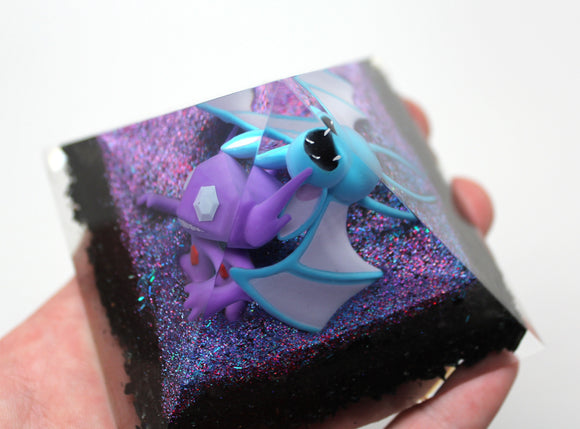 Sableye and Zubat in a Sparkling Mist - Pokemon Biome Landscape - 4 sided pyramid with Rainbow Hematite, Fluorite and Dark Pokes 3.5 inch