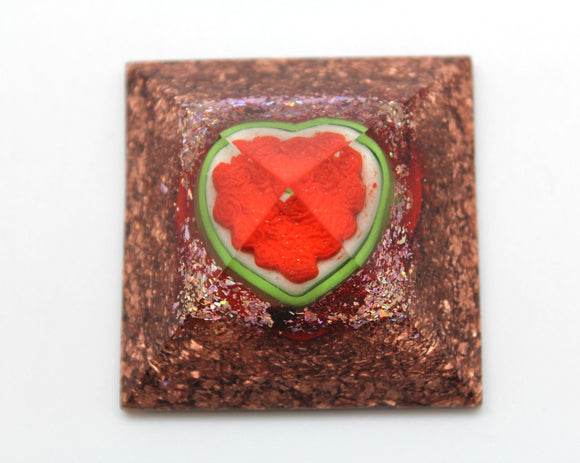 Flower Heart Cake Orgone Power Pyramid - Quartz and Cake over a bed of Thick Copper - Desktop Decor - 2 Inch wide 1.25 tall low profile