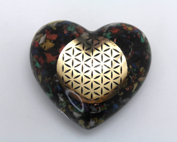 Sacred Flower of Life Puffy Heart EMF Blocker - Colorful Electrical Grid Protector Full of Insulation - Obsidian, Selenite Rainbow Plastic