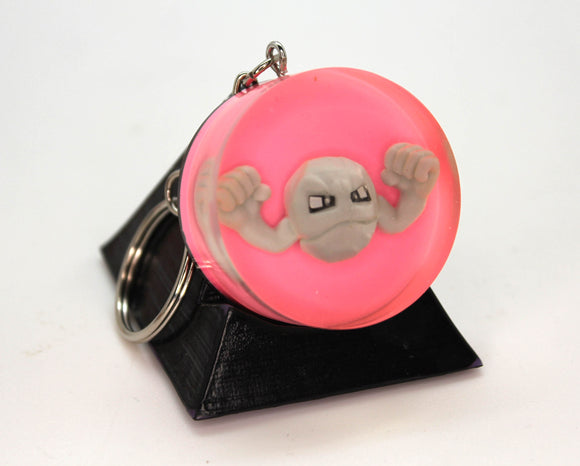 Geodude Pokemon Keychain Pokeball PoGo Plastic Figure in Resin with Handpainted Foil Pokeball Gen 1 Rock with Pokeball Logo