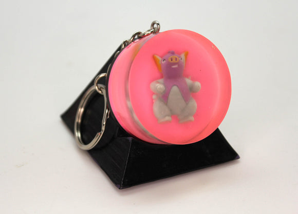 Grumpig Pokemon Keychain Pokeball PoGo Plastic Figure in Resin with Handpainted Foil Pokeball Gen 3 Psychic Dancing Pig 1.5 inch