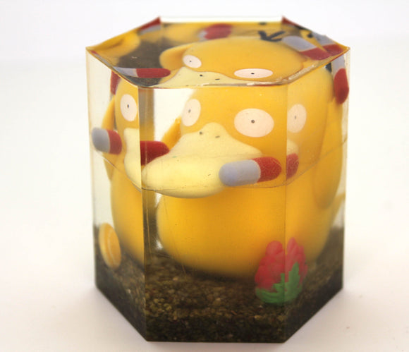 Psyduck in the wild!  Pokemon Figure in Resin Gem for Gift Display OOAK! Crushed Minerals, Hand Painted PoGo Candy, Raspberry for Catch Rate