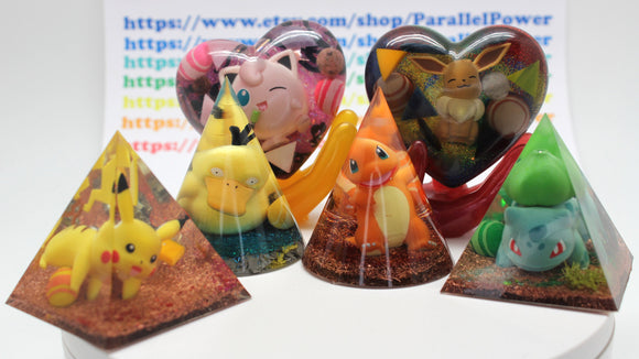 6 PokePack! Gen 1 Starters, Jigglypuff, Eevee and Pikachu! Pyramids, Hearts and Cones, Charmander, Bulbasaur - Gift Pack 2.5 inch