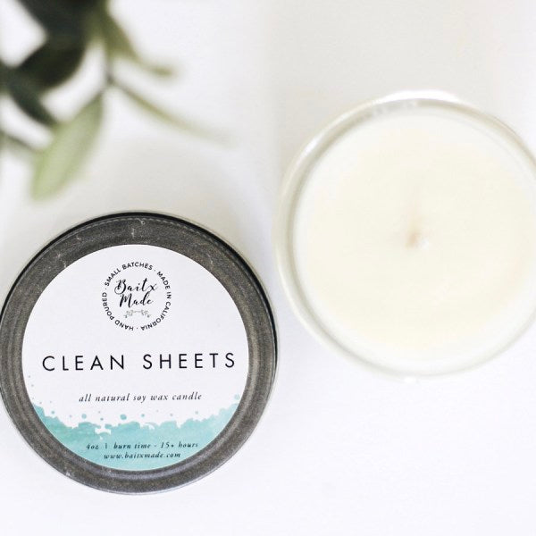 Baitx Made Clean Sheets 4 oz Soy Wax Candle