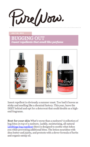 Screenshot from Pure Wow! blog recommending Life Stings bug repellent.