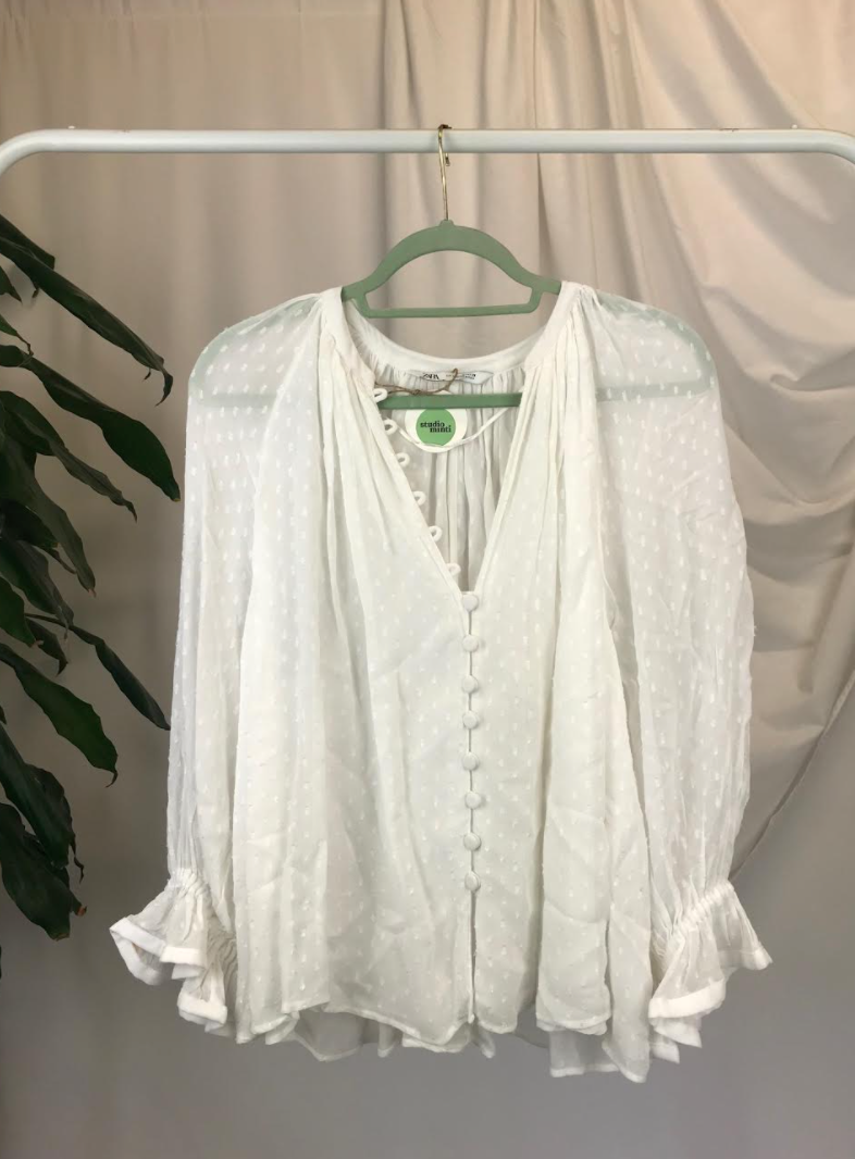 Zara Sheer Polka Dot Blouse | Size 14